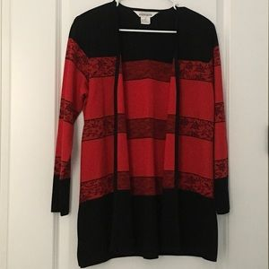 Exclusively MISOOK Red and Black Long Knit Jacket
